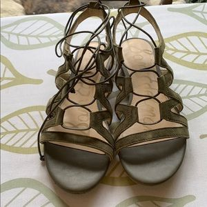 barely worn army green sam edleman sandals